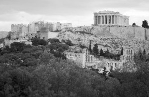 View of the Akropolis in Athens, Greece